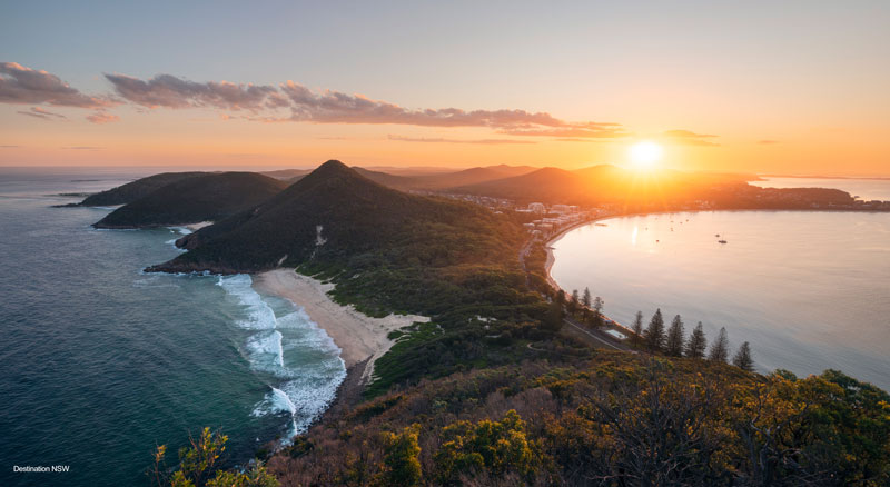 Sunset view from Tomaree Lookout overlooking Zenith beach
